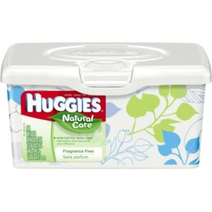 HUGGIES Natural Care Baby Wipes, Tub, Unscented, 64 sheets