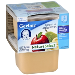 Gerber 2nd Foods NatureSelect Baby Food, Bananas with Apples & Pears, 2 ea