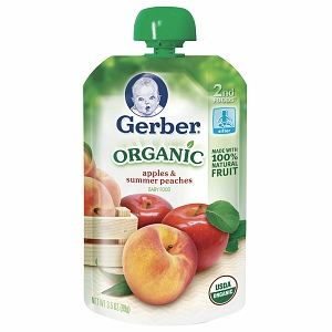 Gerber 2nd Foods Organic Baby Food Pouch, Apples & Summer Peaches, 3.5 oz